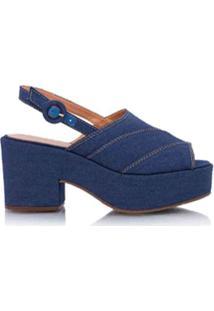 Luiza Barcelos Sandália Salto Quadrado Jeans - Azul