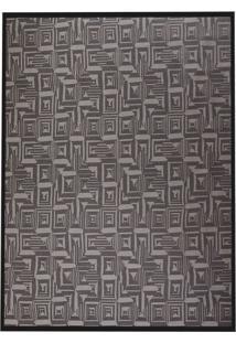 Tapete Home Tech Série Retangular Poliéster (150X200) Cinza E Preto