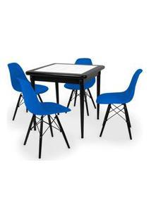 Conjunto Mesa De Jantar Em Madeira Preto Prime Com Azulejo + 4 Cadeiras Eames Eiffel - Azul