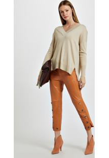 Blusa De Tricot Decote V Longo Bege Victoria - M