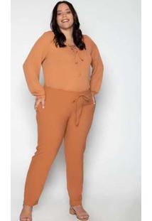 Calça Plus Size Lisa Caramelo Amarelo