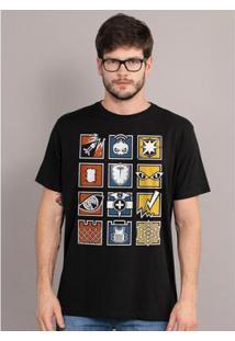 Camiseta Bandup! Rainbow Six Icons - Masculino-Preto