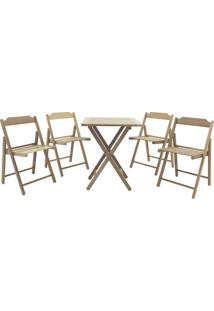 Jogo De Mesa & Cadeiras Beer- Marrom Claro- 5Pã§Stramontina