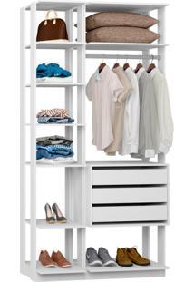 Guarda-Roupa Solteiro Modulado Clothes I 3 Gv Branco