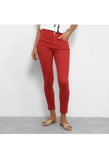 685aef156 ... Calça Skinny Maria Filó Color Cintura Média Feminina - Feminino-Vermelho