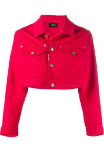 Dsquared2 Jaqueta Jeans Cropped Icon - Vermelho