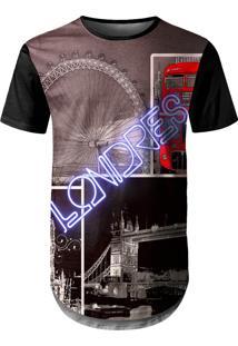 Camiseta Longline Over Fame Londres Marrom