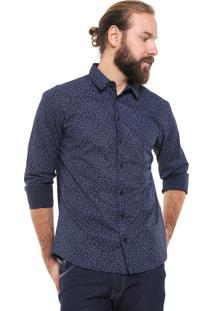 Camisa Colcci Slim Floral Azul-Marinho