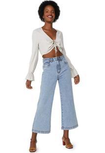 Calça Jeans Wide Leg Marmorizado