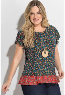 Blusa Floral Mini Manga Evasê Plus Size Quintess