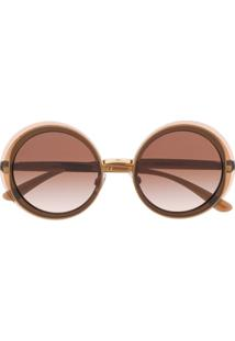 Dolce & Gabbana Eyewear Óculos De Sol Redondo Dg6127 - Marrom
