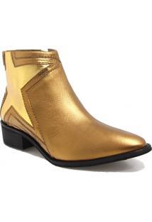 Bota Ankle Boot Vicenza Estrela Dourado