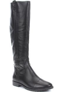 Bota Montaria Shoestock Detalhe Trançado Feminina - Feminino-Preto