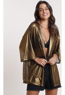 Kimono Feminino Carnaval Metalizado Em Tule Dourado