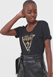 Blusa Guess Logo Cobra Preta - Preto - Feminino - Viscose - Dafiti