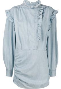 Isabel Marant Étoile Vestido Jeans Franzido Com Babados - Azul