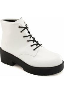 Coturno Verniz Tratorado Sapato Show - Feminino-Branco