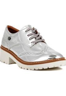 Sapato Oxford Feminino Metalizado Prata