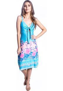Vestido Carbella Decote Laço Azul Floral Estampado