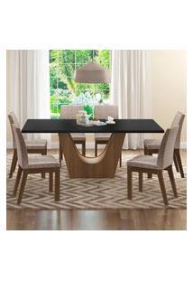 Conjunto Sala De Jantar Madesa Olivia Mesa Tampo De Madeira Com 6 Cadeiras Marrom