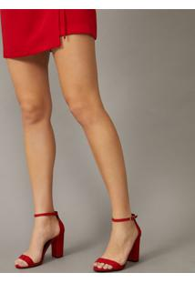 Amaro Feminino Sandália Básica Salto Alto, Vermelho Escuro