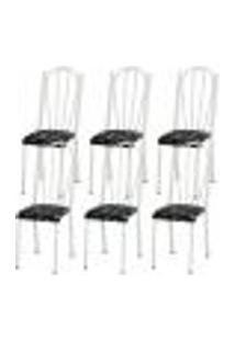 Kit 06 Cadeiras Tubular Branca 021 Assento Preto Florido