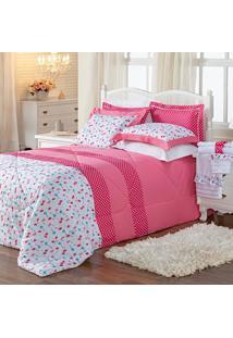 Kit Combo Edredom Jogo De Banho Flamingo Pink Queen 10 Peças