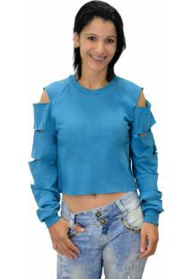 Moletom Criativa Urbana Blusa Cropped Rasgada Azul