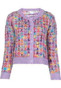 Alice+Olivia Cardigan Decote Careca Devona - Roxo