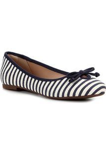 Sapatilha Shoestock Laço Gorgurão Feminina - Feminino-Bege+Marinho
