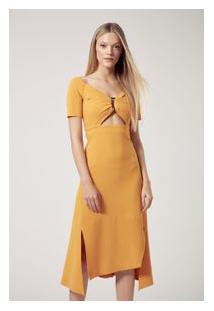 Vestido Malha Scuba Amarelo Amarelo Mel