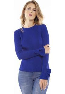 Blusa Pop Me Tricô Lurex Babado Punho Feminina - Feminino-Azul