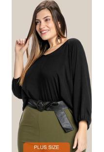 Blusa Plus Size Ampla Decote Redondo Preto