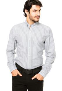 Camisa Lacoste Listras Cinza/Verde