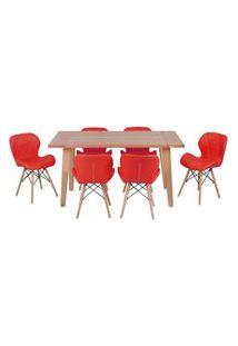 Conjunto Mesa De Jantar Em Madeira 150X80 Vértice + 6 Cadeiras Slim - Vermelho
