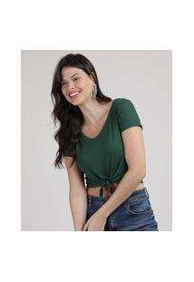 Blusa Feminina Cropped Canelada Com Nó Manga Curta Decote V Verde Escuro