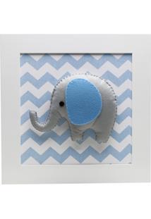 Quadro Decorativo Elefante Chevron Quarto Bebê Infantil Potinho De Mel Azul