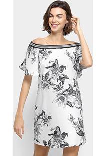 f09758577 R$ 224,99. Zattini Vestido Colcci Ombro A Ombro Curto Estampado - Feminino- Branco
