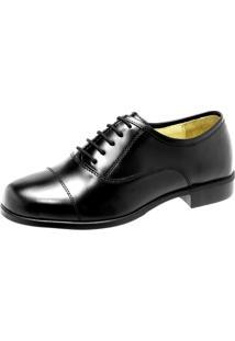 Sapato Social Em Box Alto Brilho, Solado Borracha. - Masculino