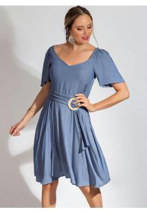 Vestido Curto Fluído Em Tecido Azul