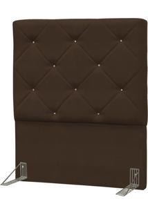 Cabeceira Solteiro Oásis 90 Cm Suede Liso Marrom Chocolate - D'Monegatto