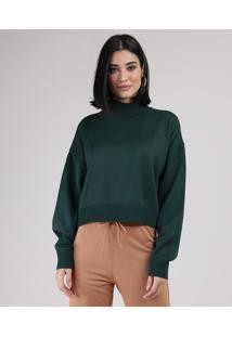 Suéter De Tricô Feminino Cropped Amplo Gola Alta Verde Escuro