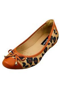Sapatilha Bico Quadrado Love Shoes Confort Onça Laçinho Caramelo