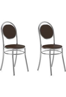 Kit 2 Cadeiras 190 Cacau/Cromado - Carraro Móveis