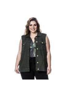 Colete Jeans Plus Size Verde Militar Lavanda E Alecrim