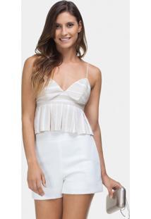 Blusa Com Alças Cropped Listrada Branco Off White - Lez A Lez