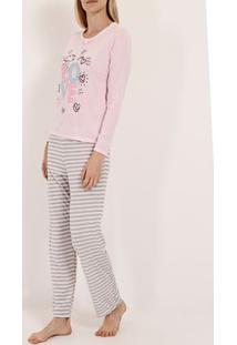 Pijama Longo Listras Feminino Rosa/Bege