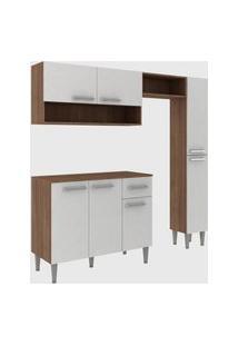 Cozinha Modulada C/ Tampo Madri 7 Portas Teka/Branco Fellicci Móveis