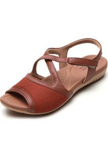 Sandália Usaflex Tiras Caramelo