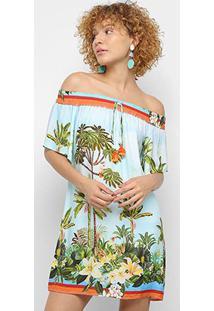 Vestido Curto Farm Bananeira Brasil Ombro A Ombro - Feminino-Estampado